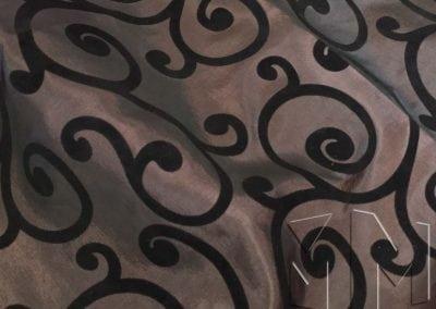 Swirl Flocking Taffeta - Black on Brown