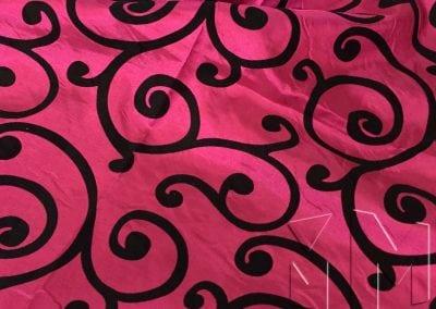 Swirl Flocking Taffeta - Black on Fuchsia