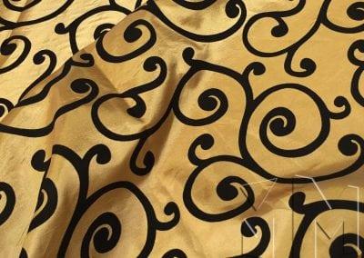 Swirl Flocking Taffeta - Black on Gold