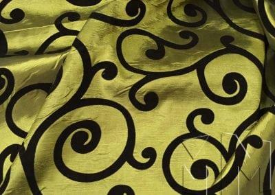 Swirl Flocking Taffeta - Black on Olive