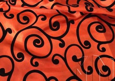 Swirl Flocking Taffeta - Black on Orange