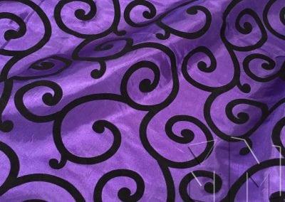Swirl Flocking Taffeta - Black on Purple