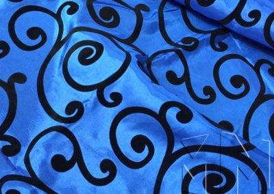 Swirl Flocking Taffeta - Black on Royal