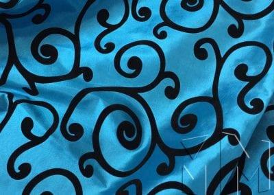 Swirl Flocking Taffeta - Black on Turquoise