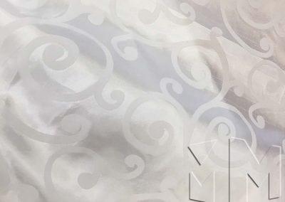 Swirl Flocking Taffeta - White on White
