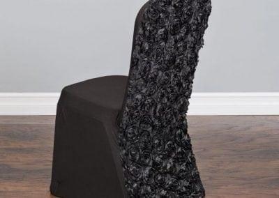 rental-linen-chaircovers-rental-dc-fredericksburg-va-Black Rosette Stretch