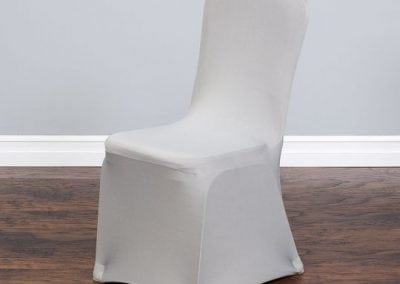 rental-linen-chaircovers-rental-dc-fredericksburg-va-Silver Stretch Banquet Chair Cover