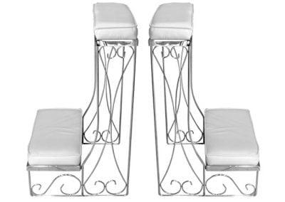 Decorations-Wedding Arch-Rentals--Column-White-kneeling-benches