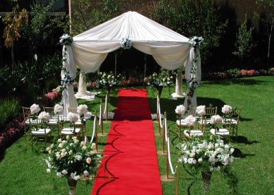 Red carpet and wedding decorations