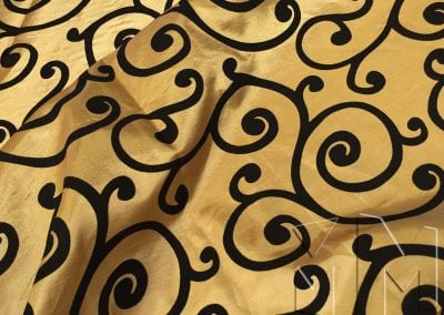Swirl Flocking Taffeta - Black on Gold