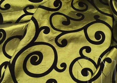 Swirl Flocking Taffeta - Black on Olive