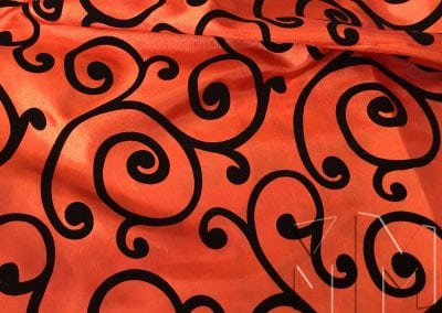 Swirl Flocking Taffeta - Black on Orange