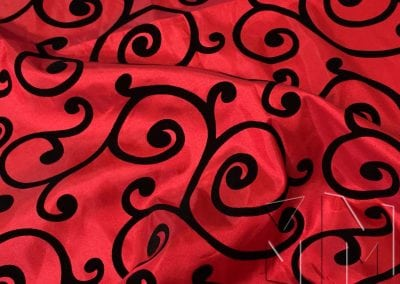 Swirl Flocking Taffeta - Black on Red