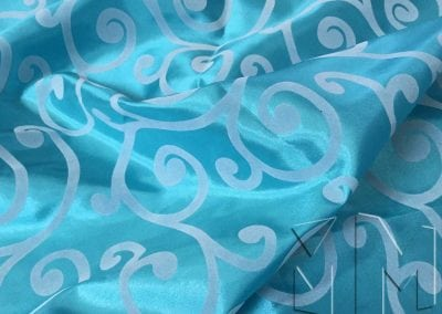 Swirl Flocking Taffeta - White on Turquoise