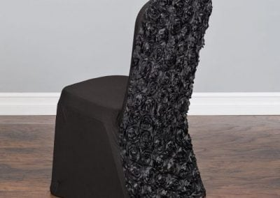 rental-linen-chaircovers-rental-dc-fredericksburg-va-Black Rosette Stretch