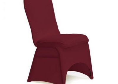 rental-linen-chaircovers-rental-dc-fredericksburg-va-Burgundy Stretch Chair Cover