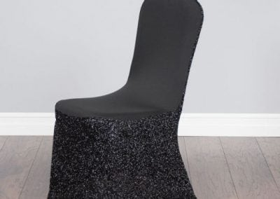 rental-linen-chaircovers-rental-dc-fredericksburg-va-Glitter Stretch Blk Cover