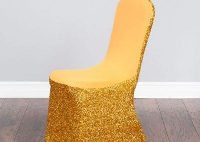 rental-linen-chaircovers-rental-dc-fredericksburg-va-Glitter Stretch Gold Cover