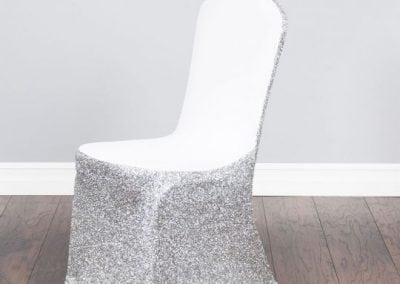 rental-linen-chaircovers-rental-dc-fredericksburg-va-Glitter Stretch Silver Cover