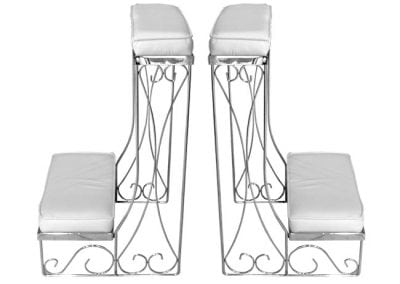 Decorations-Wedding Arch-Rentals--Column-White-kneeling-benches